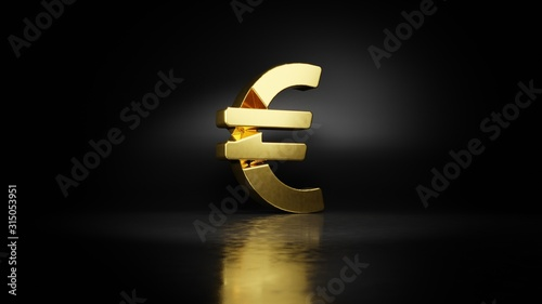 Fotomural gold metal symbol of euro sign 3D rendering with blurry reflection on floor with