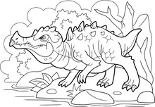Cartoon Angry Swamp Dragon, Coloring Book, Funny Illustration