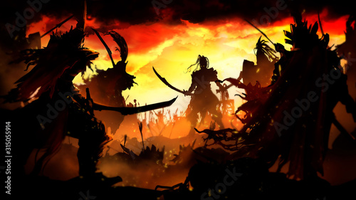 Leinwand Poster Battle of two armies in the center of the Orc warrior surrounded on all sides by
