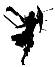 The Silhouette Of A Warrior Wi...