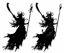 The Black Silhouette Of A Soaring Demon Of A Sorcerer With A Curved Sword, A Staff, In A Horned Helmet, Gives The Order To Attack, Wearing Black Tattered Rags On It. 2d Illustration.