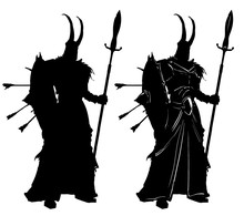 A Black Silhouette Of A Fantasy Soldier With A Shield And A Spear, A Horned Helmet And A Skirt To The Feet, Arrows Sticking Out Of The Shield. 2D Illustration.