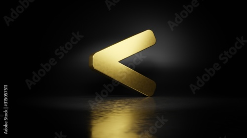 Fotomural gold metal symbol of less than 3D rendering with blurry reflection on floor with