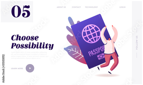 Obraz Tourist Get Visa and Passport for Traveling Abroad Website Landing Page. Happy Cheerful Man Rejoice with Hands Up, Immigrant Get Country Citizenship Web Page Banner. Cartoon Flat Vector Illustration - fototapety do salonu