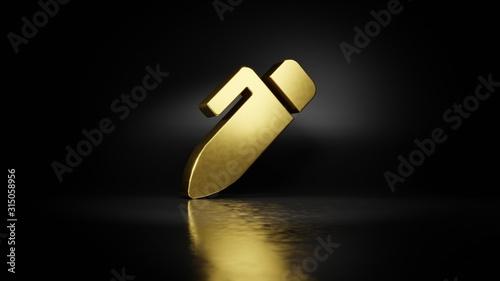 Fotografie, Obraz  gold metal symbol of pen alt 3D rendering with blurry reflection on floor with d