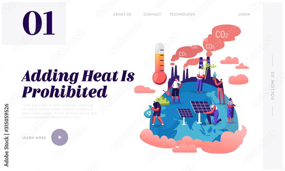 Fototapeta Global Warming Website Landing Page. Tiny Characters Care of Plants on Earth, Factory Pipes Emitting Co2 Gas Smoke, Thermometer Show High Temperature Web Page Banner. Cartoon Flat Vector Illustration