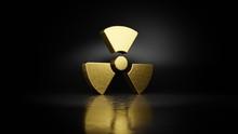 Gold Metal Symbol Of Radiation...