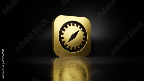 gold metal symbol of safari 3D rendering with blurry reflection on floor with dark background