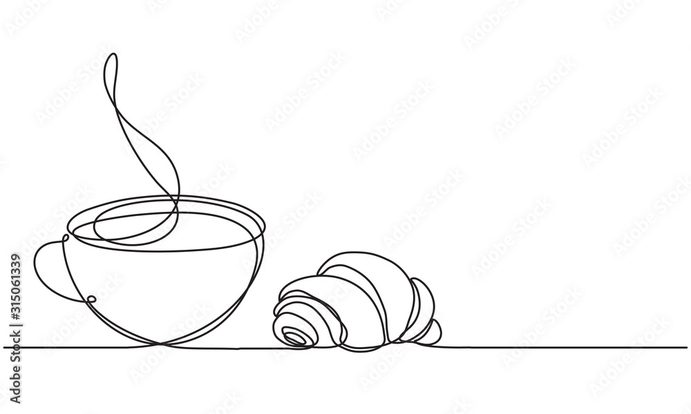 Fotografia Cup and croissant
