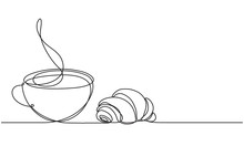 Cup And Croissant. Coffee, Tea. Vector Sketch. Continuous Line Drawing. Hot Drink And Pastries.