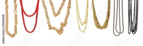 Obraz Set of necklaces isolated on a white background - fototapety do salonu