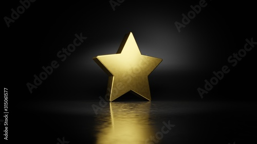 gold metal symbol of star  3D rendering with blurry reflection on floor with dar Canvas Print