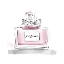 Perfume Bottle With Bow Vector Illustration Female Template