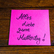 canvas print picture - Writing All love for mother`s day in german ( Alles Liebe zum Muttertag) on memo post reminder. Text on sticky paper. Mother`s day concept.