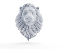 3d Rendered Object Illustration Of An Abstract White Lion Sculpture