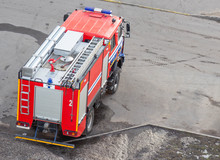 Red Fire Truck With Emergency Lights, Saving People, Threat To Life, Background, Department