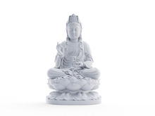 3d Rendered Object Illustration Of An Abstract White Buddha Statue
