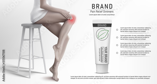 Carta da parati Discoloured Illustration with woman that sitting on the stool, rubbing her knee and suffering from pain in knee with the pain relief ointment tube mockup