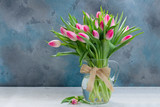 Fototapeta Tulips - Pink fresh tulips