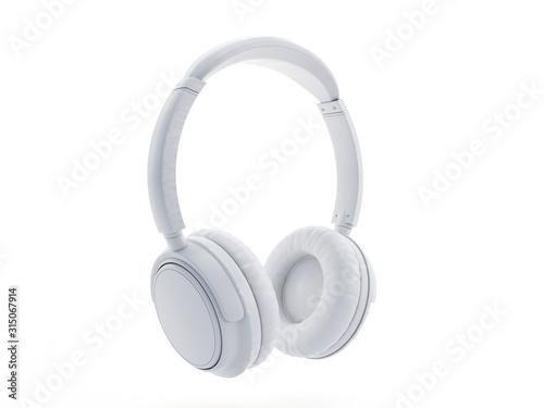 Fototapeta 3d rendered object illustration of an abstract white headphones obraz
