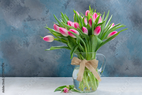 Pink fresh tulips Wallpaper Mural