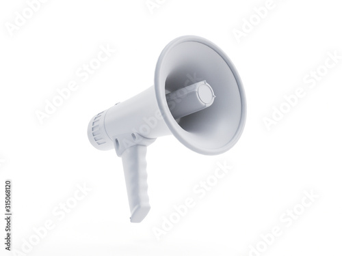 3d rendered object illustration of an abstract white megaphone © SciePro
