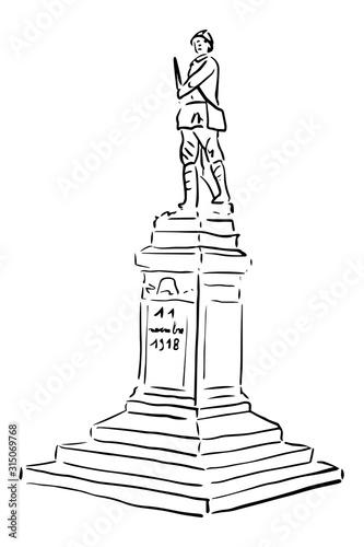 monument aux morts, première guerre mondiale,  14-18, 1914-1918, poilu, guerre, Canvas Print