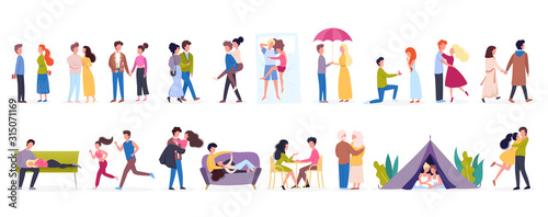 Obraz Couple on different activity set. Woman and man are in love - fototapety do salonu
