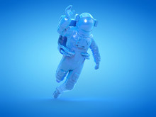 3d Rendered Object Illustration Of An Abstract Blue Astronaut