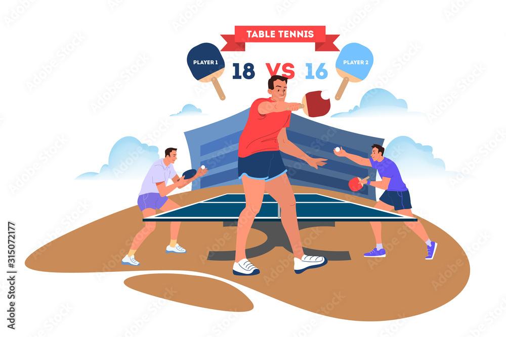 Fototapeta Table tennis player holding a racket. Table tennis player training.