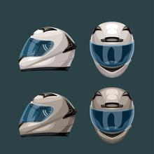 Racing Helmets Set On Blue