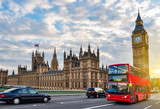 Fototapeta Big Ben - Houses of Parliament with Big Ben and double-decker bus on Westminster bridge at sunset, London, UK