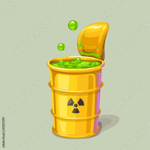 Fotografie, Obraz green toxic waste in metal barrel