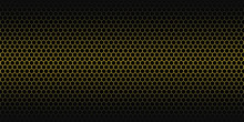 Yellow Abstract Background. Golden Honeycomb Pattern. Linear Website Template On Black Backdrop. Vector Geometric Pattern.
