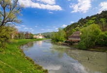 Vag River Branch Flowing Near SPA Island In World Famous Spa Town Piestany, Slovakia. (The Unique Mud Of Piešťany Is Product Of The Joint Activity Of Mineral Springs And River Sediments Of The Vah.)