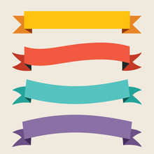 Colorful Ribbon And Banner Design