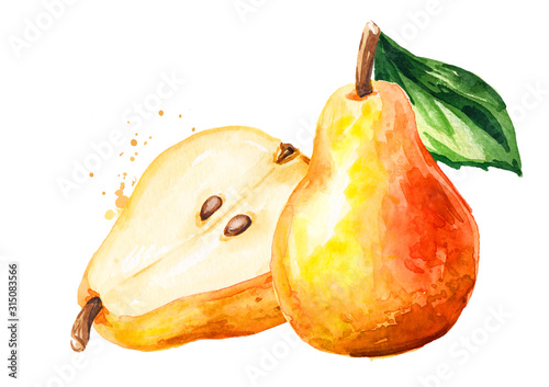 Fresh ripe red yellow honey pear fruits with green leaf Fototapete