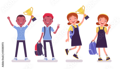Fototapeta School boy and girl in a casual wear standing with trophy cup. Cute small children with rucksack, active young kids, smart elementary pupils 7 and 9 years old. Vector flat style cartoon illustration obraz