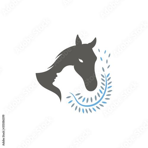 Fototapeta nurse logo of woman horse and leaf vector obraz