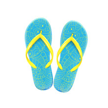 Blue Summer Beach Flip-flops With Yellow Pattern On White Background, Shoes For The Pool And Beach, Vector.
