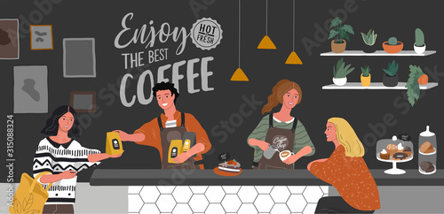 Obraz Coffee shop or cafe interior design and scene. Character of Girl barista make cappuccino art and happy cafe customer. Scandinavian style interior with houseplants and handwritten quote. Cartoon - fototapety do salonu