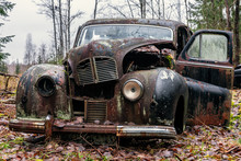 Old Rusty Car Wreck Standing I...