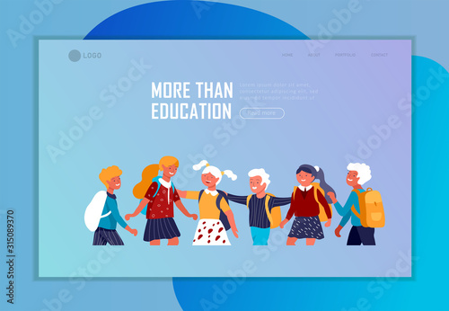 Photo Landing page template with Back to school flat vector illustration