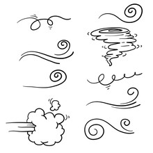 Collection Of Doodle Wind Illu...