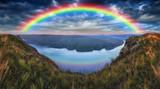 Fototapeta Tęcza - rainbow over the river. Dnister River Canyon. autumn morning