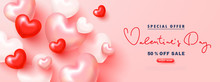 Valentine's Day Sale Advertising Banner. Festive Background With 3D Hearts .Vector Illustration For Promotional Materials, Brochures, Posters, Website, Advertising And Other.