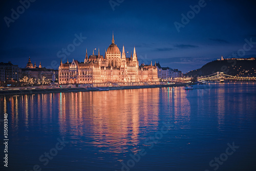 The famous Hungarian Parliament in Budapest in dusk Canvas Print