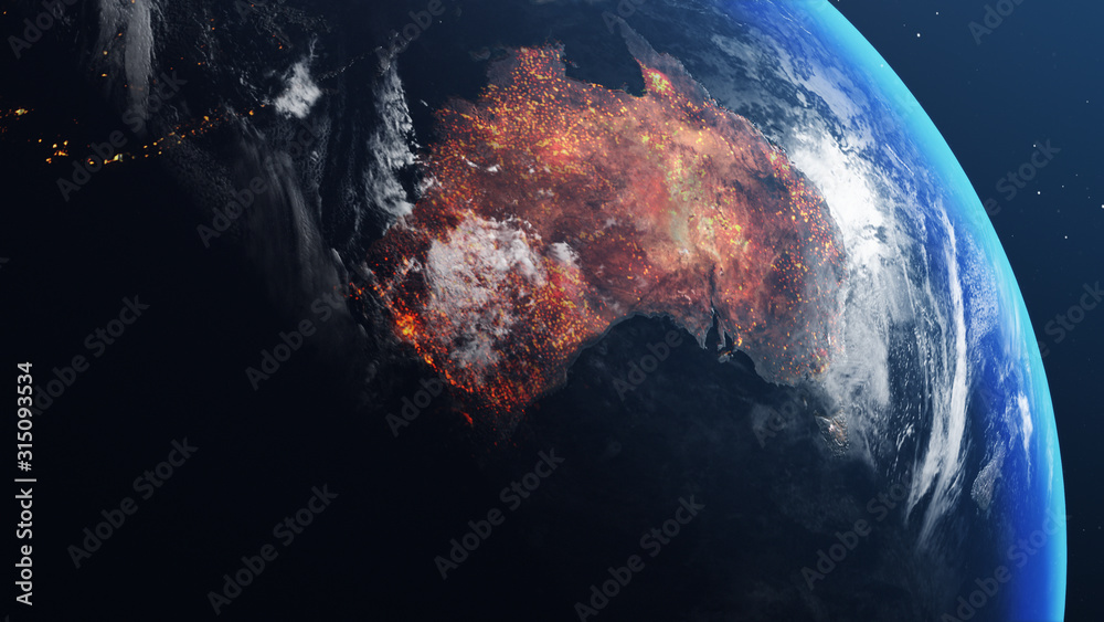 Fototapeta 3D illustration of Earth globe with map of australia all burnt and on fire