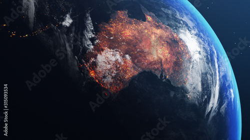 Fototapeta 3D illustration of Earth globe with map of australia all burnt and on fire obraz