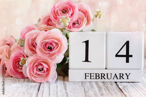 White wood calender blocks and pink ranunculus with the date February 14 for Valentines Day. Selective focus with a blurred background. - 315094516